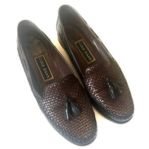 Cole Haan Two-Toned Woven Tassel Moccasin Loafers